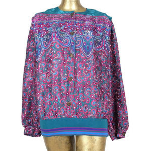 Vintage 80s Psychedelic Paisley Button Up Blouse